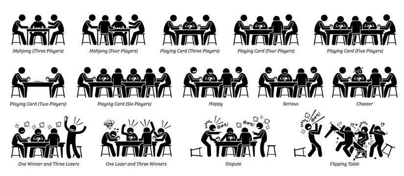 People playing game card, poker card, and mahjong on the table. Pictogram depicts different number of players, reactions, emotions, feelings, and actions of the men who are playing the game card.