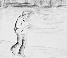 A man walks along the river. A man holding a cigarette. Pencil drawing on paper
