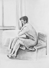 Young girl sitting at the table by the window. Pencil drawing on paper