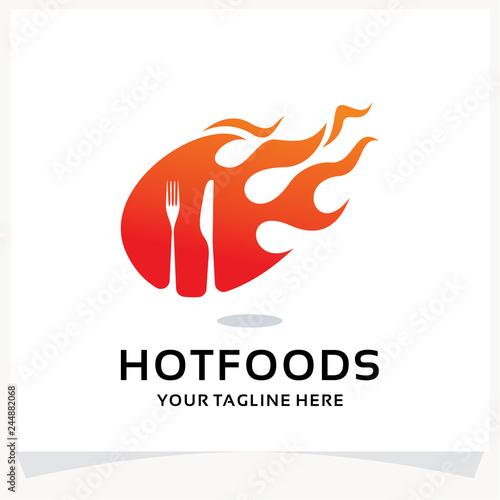 Hot Foods Logo Design Template Inspiration
