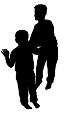 Silhouette of two boys playing