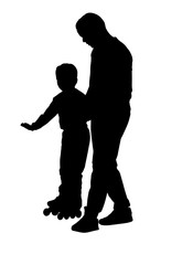 Father helps son with roller skating