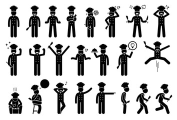 Chef basic poses, feelings, actions, and emotions. Stick figures shows the chef or cook is feeling happy, sad, angry, and successful. Other actions include standing up, sitting, walking, and running.