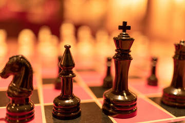 Chess set on the chess board close up