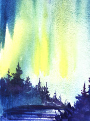 Winter landscape. Dark silhouette of spruce forest, snow-covered valley. Northern Lights. Hand-drawn watercolor illustration