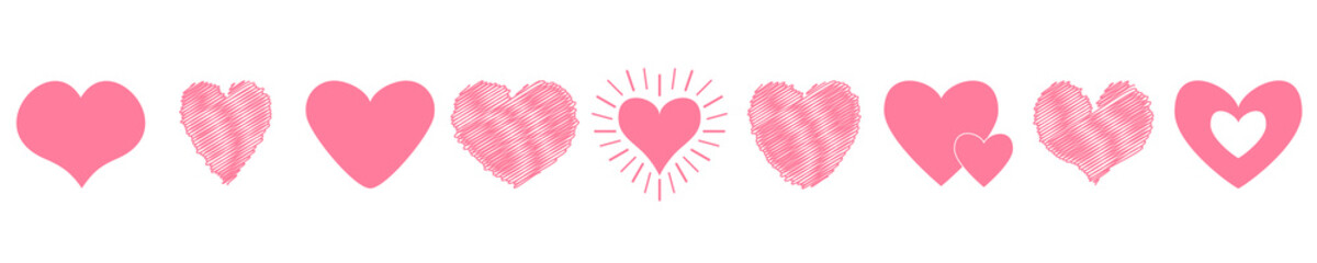 Pink heart icon set. Happy Valentines day sign symbol template. Love greeting card. Different shape. Paper and scribble line effect. Cute graphic object. Flat design. Isolated. White background.