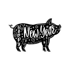 Happy New Year text. 2019 Chinese Year of the Pig. Hand drawn typography design.