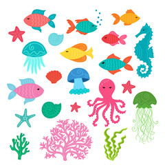 Set of hand drawn cute sea animals: starfish, seahorse, jellyfishes, fishes, shells, coral, algae, octopus.