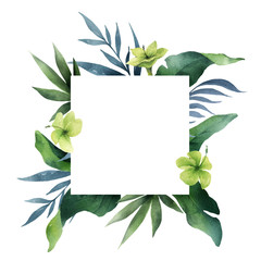 Watercolor vector green card tropical leaves and flowers isolated on white background.