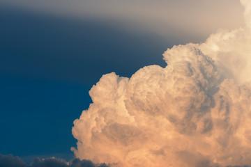 Cumulus clouds in evening light