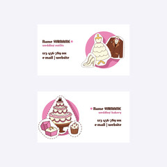 Wedding concept business cards vector illustration. Wedding outfits and bakery. Contact information withwebsite, email, phone number. Cakes, cupcakes. Clothing for bride and groom.