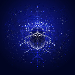 Vector illustration with hand drawn scarab and Sacred geometric symbol against the starry sky. Abstract mystic sign. Linear shape.