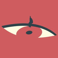 Obraz Man sitting on the edge of eye shaped pool. Conceptual illustration. - fototapety do salonu