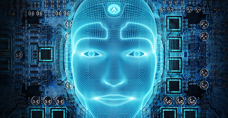Robotic man cyborg face representing artificial intelligence 3D rendering