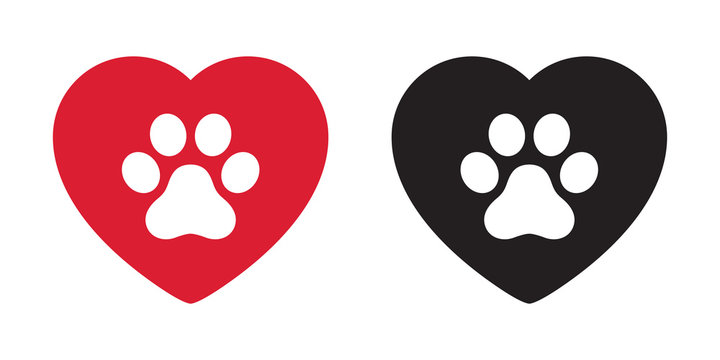 Dog paw vector icon heart logo valentine symbol french bulldog cartoon illustration clip art graphic simple