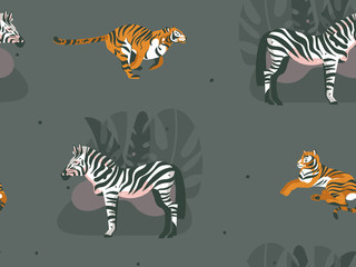 Hand drawn vector abstract modern graphic African Safari Nature ornamental illustrations art collage seamless pattern with zebra,tigers animals and tropical palm leaves isolated on green background