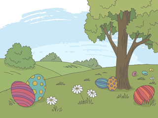 Easter egg graphic color landscape sketch illustration vector