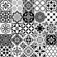 Lisbon geometric Azulejo tile vector pattern, Portuguese or Spanish retro old tiles mosaic, Mediterranean seamless black and white design