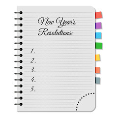 Notepad with title New Years Resolutions