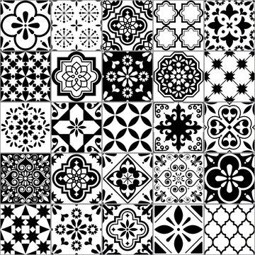 Lisbon geometric Azulejo tile vector pattern, Portuguese or Spanish retro old tiles mosaic, Mediterranean seamless black and white design