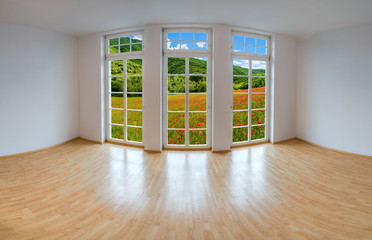 View from an empty apartment to a romantic landscape