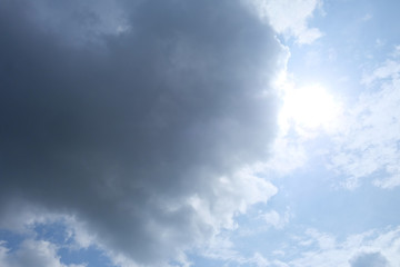 Cloudy sky before rains with sunlight for background texture