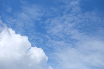 White fluffy clouds with blue sky and sun light for background texture