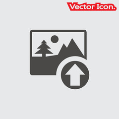 Upload image icon isolated sign symbol and flat style for app, web and digital design. Vector illustration.