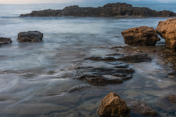 Long Exposure of the Mediterranean Sea along the Southern Italian Mediterranean Coast at Sunset