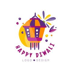 Happy Diwali logo design, Hindu festival label, poster, invitation, flyer, greeting card template vector Illustration