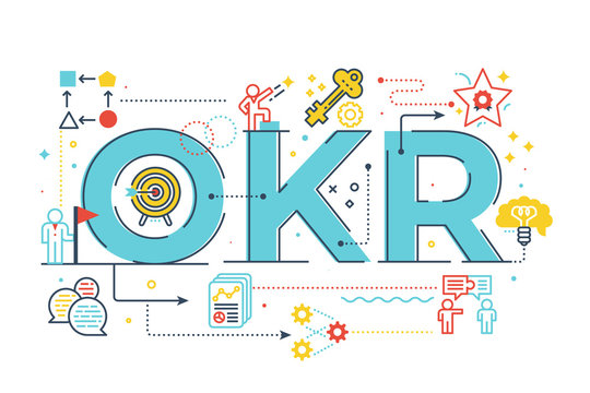 OKR (Objectives and key results)word lettering illustration