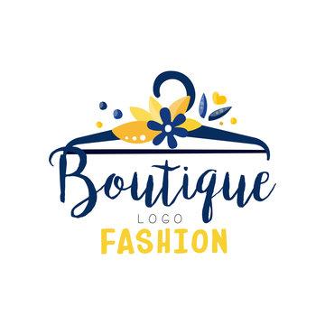 Fashion boutique logo, clothes shop, dress store creative label vector Illustration