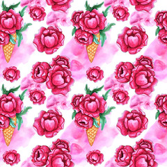 Watercolor Seamless pattern with pink peony flowers.