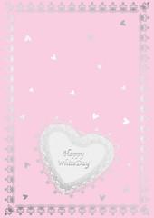 ハートミニカード銀ピンク背景