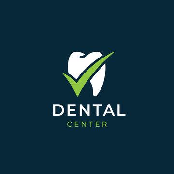 Modern minimal dentist logo design. Abstract tooth check tick icon logotype. Dental clinic vector sign mark icon.