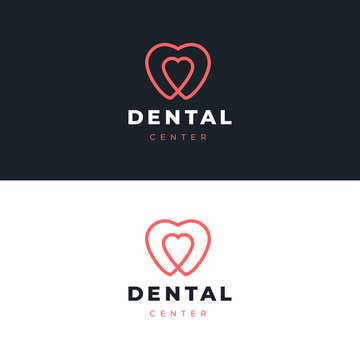 Dentist logo design template.  Tooth with heart creative symbol. Dental clinic vector sign mark icon.