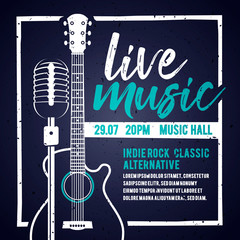Vector illutration banner with an acoustic guitar and a microphone for concert, live music and party