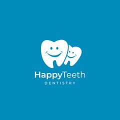 Family dental clinic logo. Dentist vector sign mark icon.