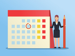 Small woman standing near big calendar. Plan your day, week, month. Business planning concept. Flat design vector illustration