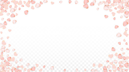 Love Hearts Confetti Falling Background. St. Valentine's Day pattern Romantic Scattered Hearts. Vector Illustration for Cards, Banners, Posters, Flyers for Wedding, Anniversary, Birthday Party, Sales.