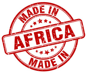 made in Africa red grunge round stamp