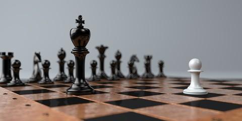 David gegen Goliath Schachfiguren Konzept