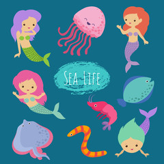Sea life cartoon character animals and mermaids vector design. Mermaid girl princess, ramp and worm, shrimp and jellyfish illustration