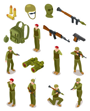 Isometric soldiers. Military special forces, warriors in army uniform, ammunition and weapons. 3d isolated vector set. Illustration of military isometric soldier and weapon