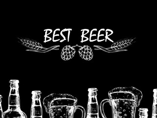 Vector retro background with doodle beer bottles and glasses. Illustration of beer drink alcohol drawing