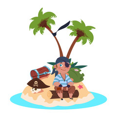 Boy pirate sits on treasure island - cartoon character vector illustration. Pirate on island, boy with treasure on sand beach