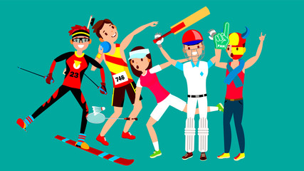 Athlete Set Vector. Man, Woman. Skiing, Athletics, Tennis, Baseball, Fan. Group Of Sports People In Uniform, Apparel. Sportsman Character In Game Action. Flat Cartoon Illustration
