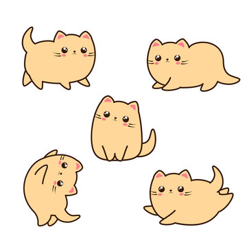 Adorable cat, kitten character. Kawaii animals illustration. Cute cat in different poses.
