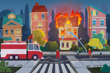 Firefighters with engine fire truck extinguish civil house in town. Natural Disaster concept cartoon vector illustration.