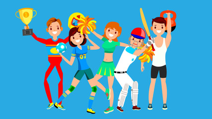 Athlete Set Vector. Man, Woman. Handball, Cheerleader, Baseball, Fitness Man. Group Of Sports People In Uniform, Apparel. Sportsman Character In Game Action. Flat Cartoon Illustration